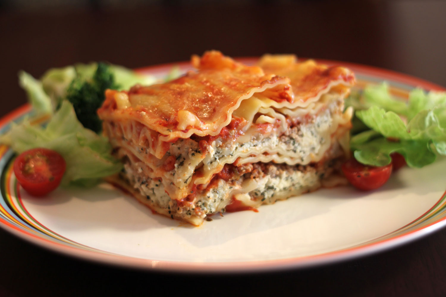 Lasagna with salad on a plate