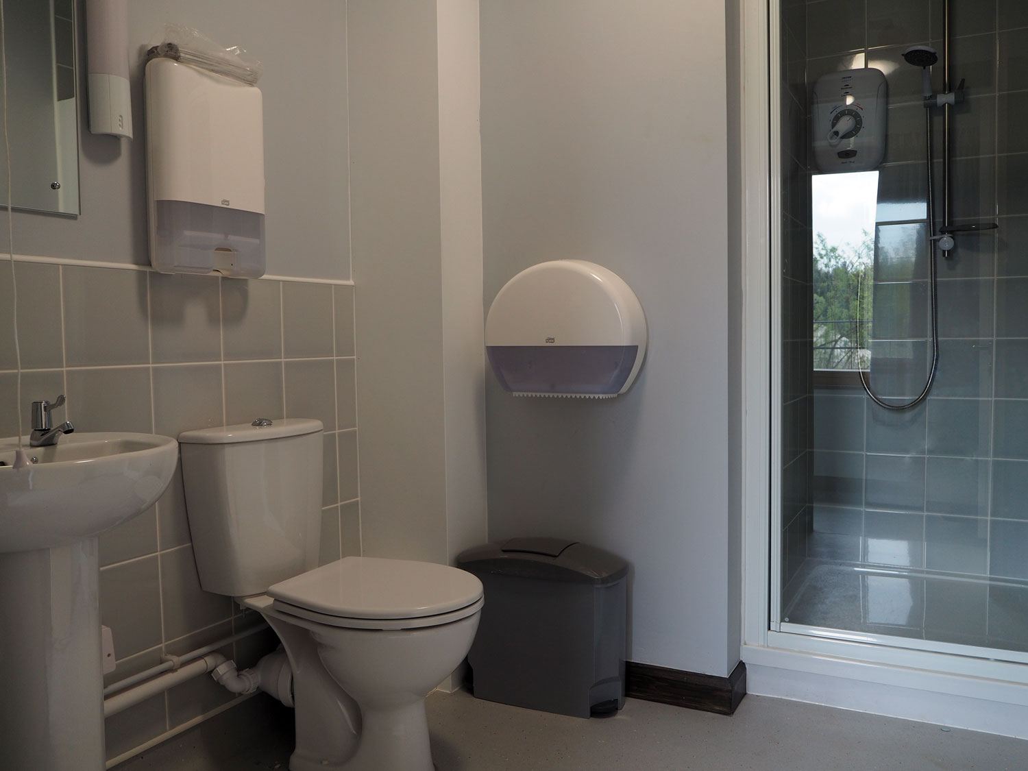 The bathroom in the Woodlands building