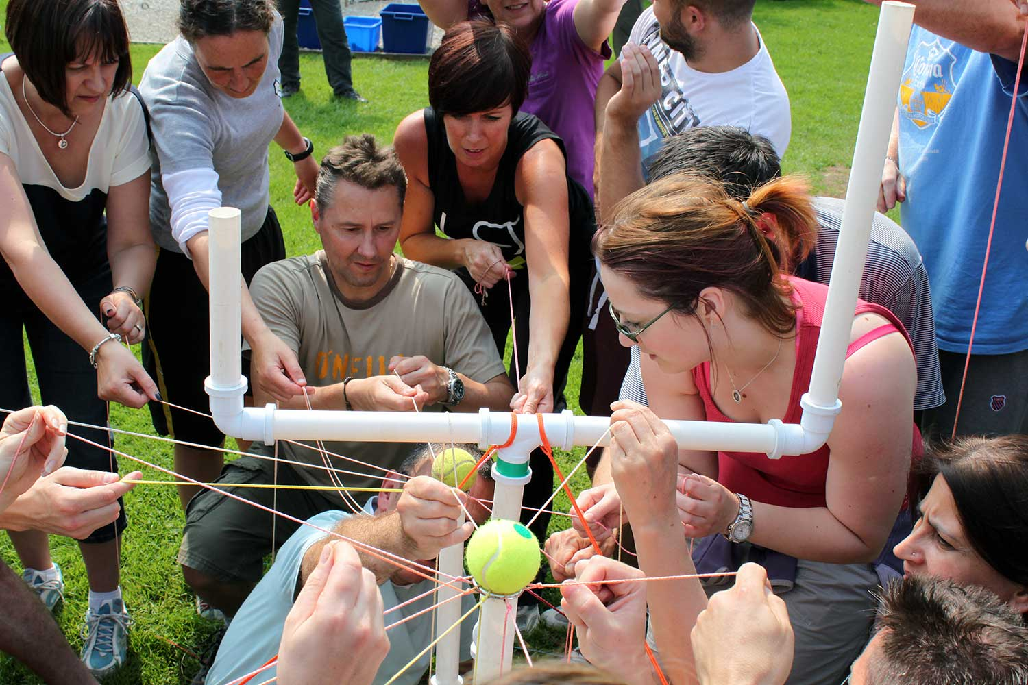 Adults participating in a problem solving activity