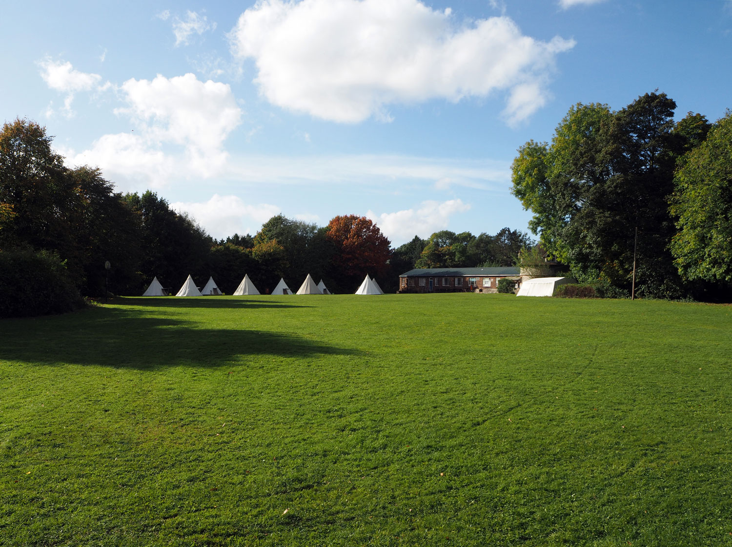 The camping field at Thornbridge Outdoors