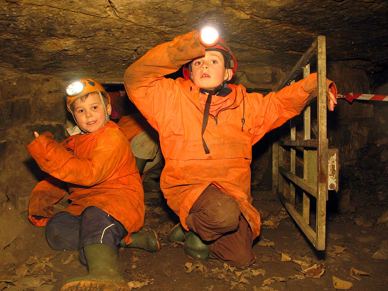 Pupils caving and exploring a mine
