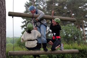Adults on the Jacobs Ladder (High Ropes) at Thornbridge Outdoors