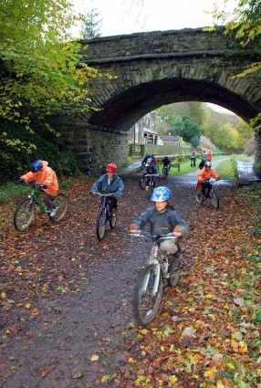 Pupils biking on the Monsal Trail