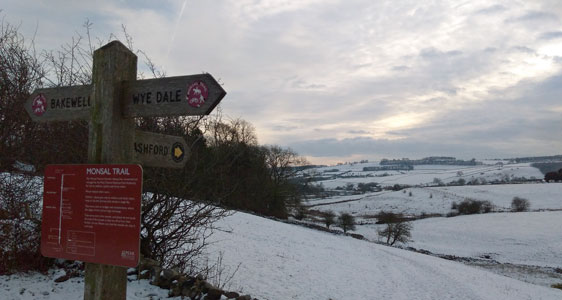 Monsal trail in snow near Thornbridge Outdoors