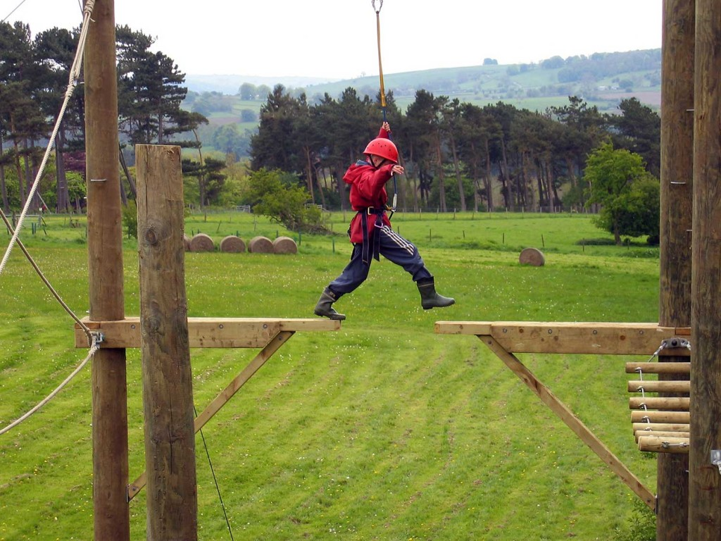 Pupil on residential at Thornbridge Outdoors on the Sky Ropes (High Ropes)
