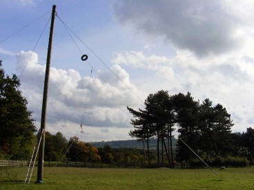 Zip wire (high ropes) and field at Thornbridge Outdoors in the sun