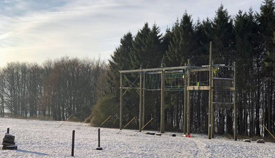 Sky Ropes in snow at Thornbridge Outdoors