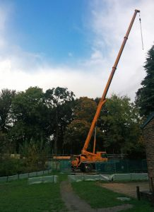 Crane at Thornbridge Outdoors for the new outdoor classroom with specialist accommodation