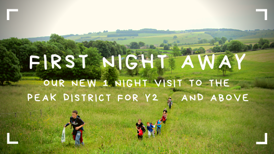 First night away header shows children walking through field